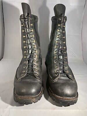HATHORN Men's Black Leather EXPLORER Boots Vibram Sole Size 11EE