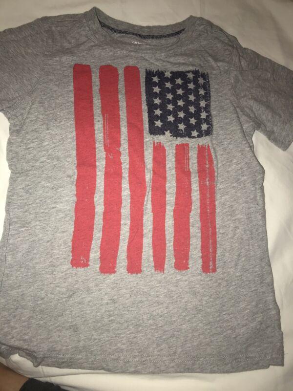 Carter's Boys Gray Usa Flag Short Sleeve T-shirt Sz 7  Patriotic