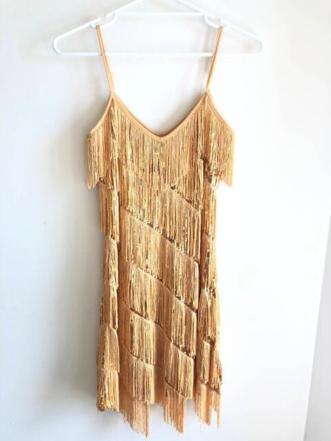 Womens Gold Flapper  47 Gatsby Fringed Sequins Fancy Dress ... 91560f7fc3