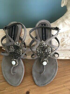 Ilse Jacobsen Grey Suede Flat Sandals - Size 37 UK 4