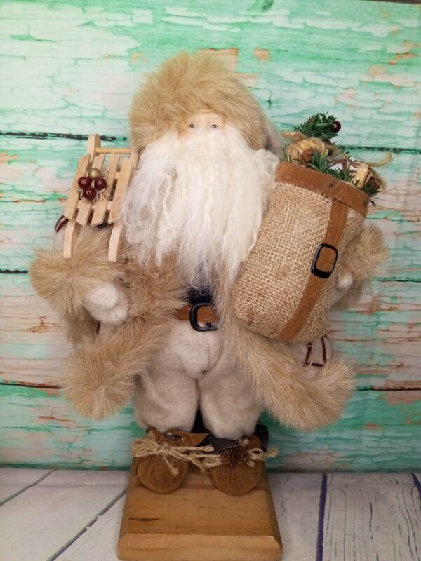 "16"" Santa Claus 🎅 Christmas Figurine Old World Type Sleigh Burlap Bag Beige Fur"