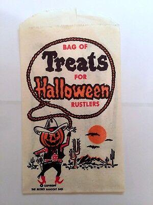 Vintage 1950-60s Halloween Treat Paper Bag for Rustlers Cute! (Halloween Paper Bag)