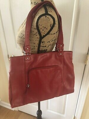 - ILI New York Toronto Red Pebbled Leather Large Tote Organizer Bag Purse
