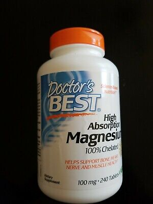 Doctor's Best High Absorption Magnesium 100% Chelated 100 mg. 240 Tabs  Exp