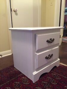 Two white bedside tables going to best offer in next 24 hours