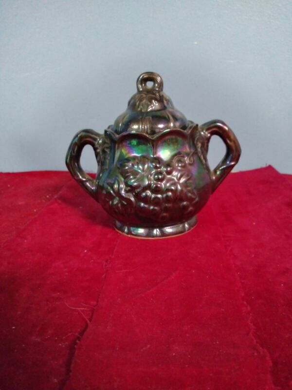 Carnival Glass Sugar Bowl With Top grapes