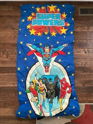 "1984 Vintage {DC Comics} ""SUPER POWERS"" (Youth/Child) ""SLEEPING BAG"", RARE!"