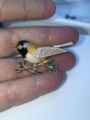 Bird Robin Crystals Vintage Gold Pin Brooch D-3616 Gold Bird Pin