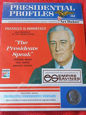 1966 PRESIDENTIAL PROFILES FRANKLIN D. ROOSEVELT RECORD COMMEMORATIVE MEDALLION