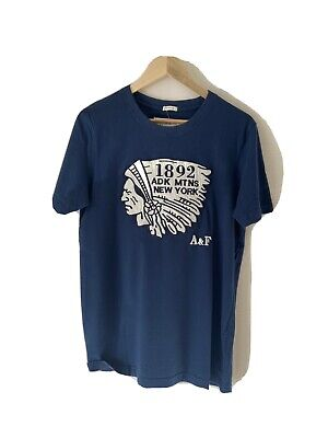 ABERCROMBIE & FITCH MUSCLE LARGE BLUE T SHIRT WITH INDIAN PRINT