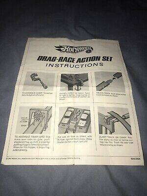 VINTAGE HOT WHEELS REDLINE 1967 DRAG RACE ACTION SET INSTRUCTION SHEET