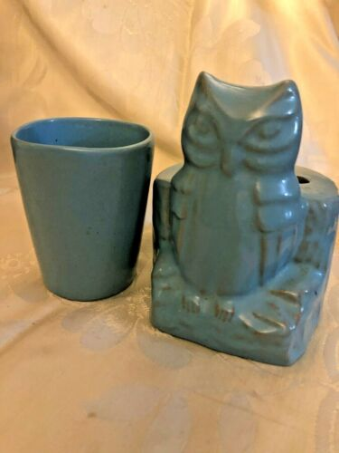 Blue Frankoma Pottery Owl Toothbrush Holder and Cup
