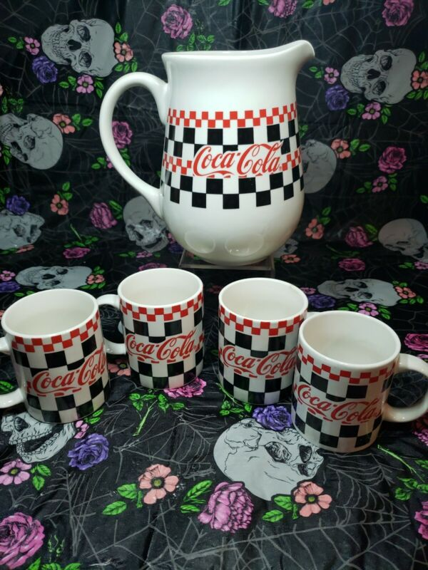 Vtg 1996 Coca-Cola Pitcher and 4 glasses By Gibson