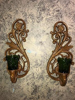 Gold Wall Votives (Gold Hollywood Regency plastic wall candle votive sconce holders SYROCO)
