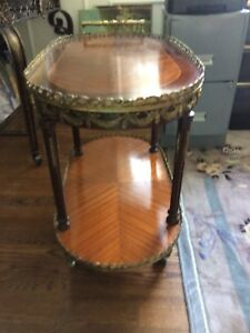 Original French Antique 1900s marquetry server   gold inlaid