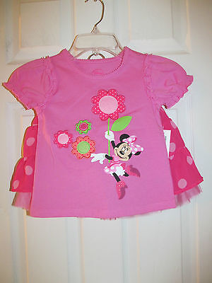 NWT Baby Girls Disney Minnie Mouse Pink Polka Dot Shirt,Skirt Oufit set sz 5/6