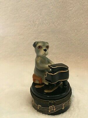 Dog Playing Piano Pill box, Music Collectible, Porcelain, 2.75 x 2.75 x 1 inches