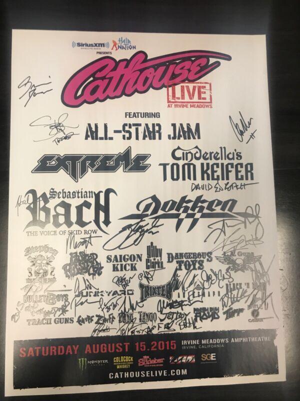Cathouse Live Hair Metal Music Festival AUTOGRAPHED POSTER Dokken Bach LA Guns