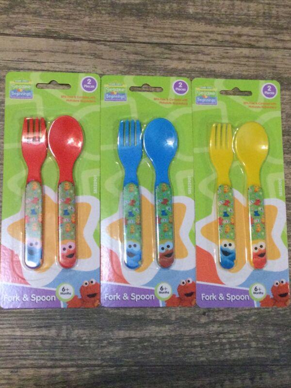 3 Pack Sesame Street Sesame Beginnings 2 piece Utensils Fork and Spoon