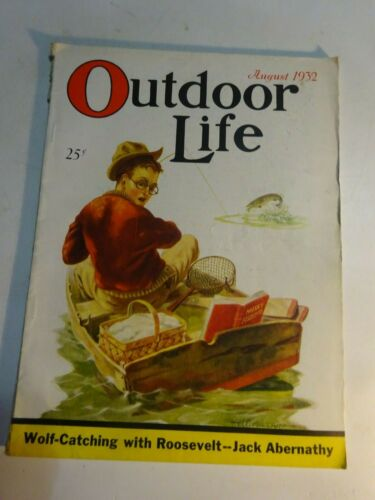 1932 OUTDOOR LIFE Magazine August issue Musky Boat Fishing