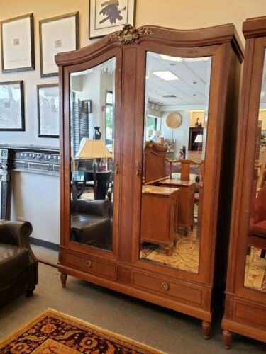 Antique French Breakdown Armoire with Mirrored Doors and Inlay Design