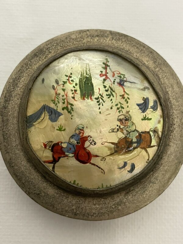 Antique Hand Painted Persian Horsemen Mother Of Pearl Silver Powder Snuff Box