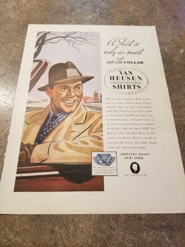 1937 Vintage Print Ad Van Heusen Collar Attached Shirts