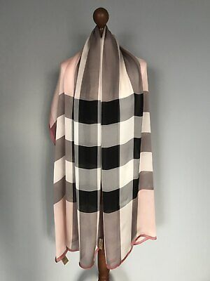 Burberry pure silk scarf wrap 100% authentic original WITH FACTORY DEFFECT