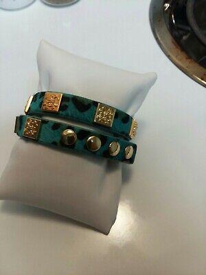 RUSTIC CUFF Meagen Calfskin TEAL Leopard Double Wrap Bracelet w/Gold Logo