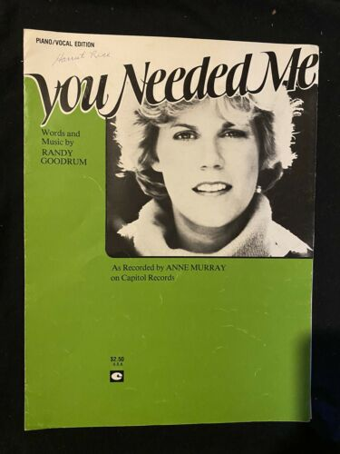 Anne Murray You Needed Me Vintage Sheet Music Country Rare - $6.99