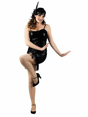 Kostüm luxe Charleston Flapper Girl (M) Kleid 20s 20er schwarz Karneval - Flapper Girl Kostüm