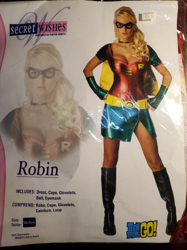 NEW ~ Rubies Secret Wishes ~ Batman & Robin ~ Sexy Adult Robin Costume Womens M