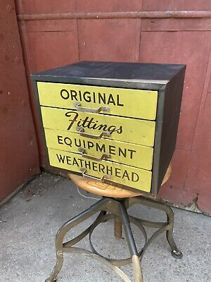 Vtg Yellow Metal Weatherhead Fitting Equipment 4 Draw Storage Cabinet Apothecary