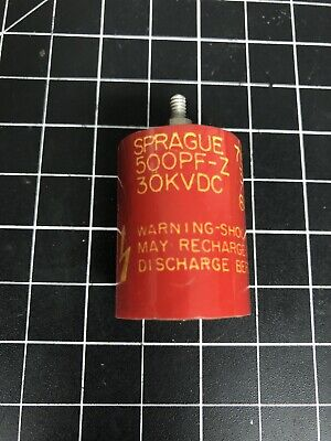 Known Good Sprague Door Knob Capacitor 715c 500 Pf-z 30kvdc 500 Pf 30 Kv