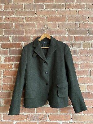 +J Jil Sander Uniqlo Women's Jacket, 100% Wool  Size Small, Forest Green