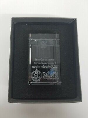 RON SANTO RETIRED NUMBER IMAGE 3 CRYSTAL PAPERWEIGHT BY JAFFA CHICAGO CUBS Chicago Cubs Retired Number