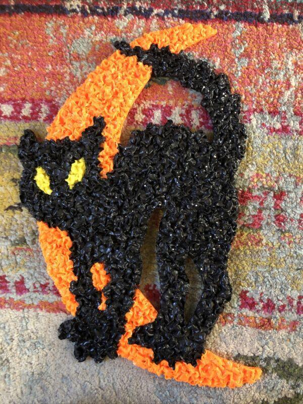 VINTAGE HALLOWEEN POPCORN CAT ON MOON DECORATION WALL HANGING