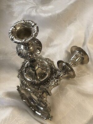 estimated era is early 1900/'s Beautiful  Art Deco style. Antique candle sticks Very heavy silver plate