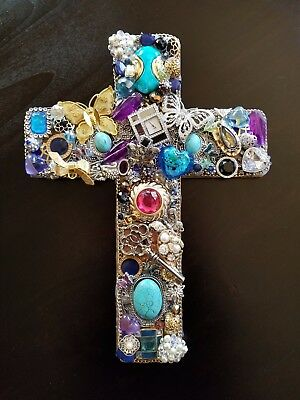 Butterflies are Free Cross made from Up Cycled Treasures / Vintage Jewelry