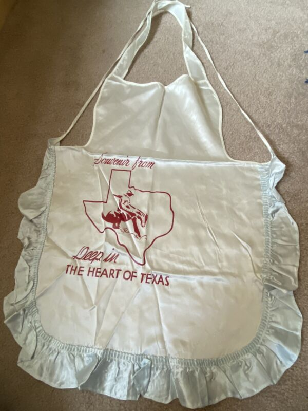 Amazing Silky Travel Souvenir Vintage Apron - Deep In The Heart Of Texas