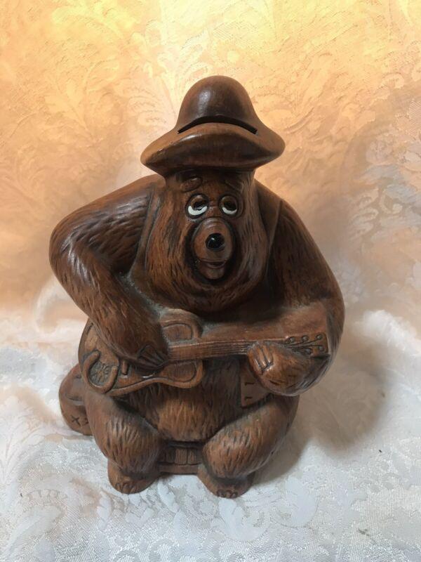 Big Bear Jamboree Bear Playing Guitar Ceramic Bank Disney NEW OLD STOCK