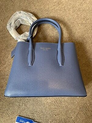 New & Tags Kate Spade New York Small Blue Leather Cross Body / Grab Bag