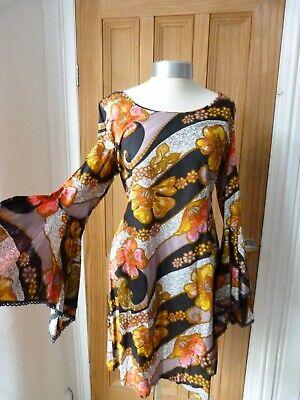 True Vintage 60's Horrockses multi coloured mini dress, mod, handkerchief sleeve