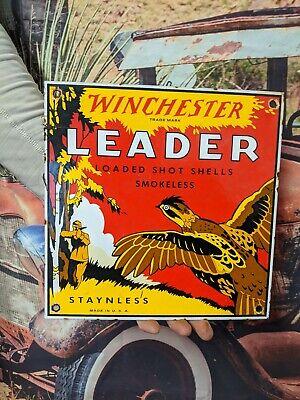 "OLD VINTAGE WINCHESTER ""LEADER"" PORCELAIN ADVERTISING SIGN STAYNLESS SHELLS AMMO"