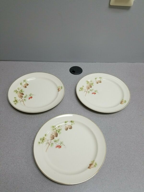 3 VINTAGE TAYLOR SMITH TAYLOR SALAD PLATES PINECONES AND BERRIES