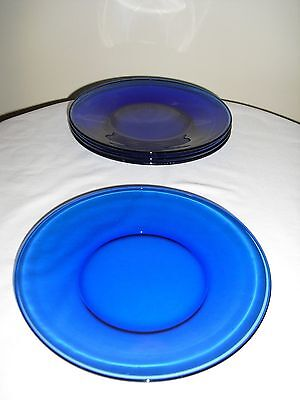 "Cobalt Blue Glass Salad Luncheon Plates 8"" Plain SET OF 4"