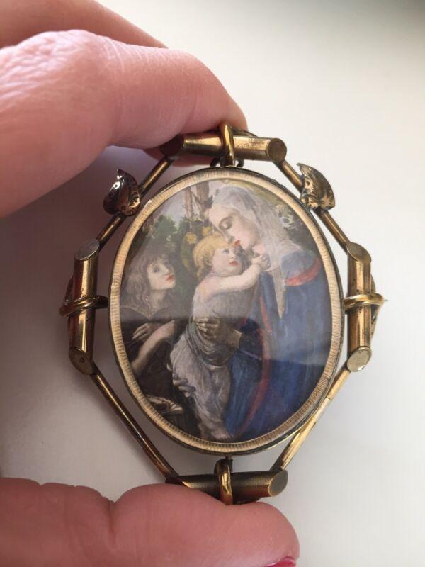 Antique Pendant Pinchbeck Swival Bereavement Brooch Pendant Victorian Double