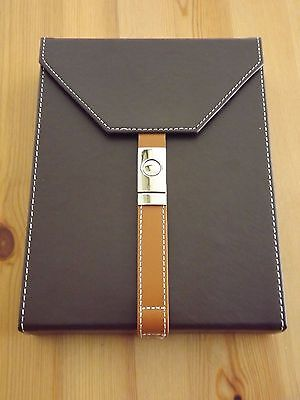 Brown Leather Travel 10 Cigar Humidor With Chrome Buckle and Humidifier