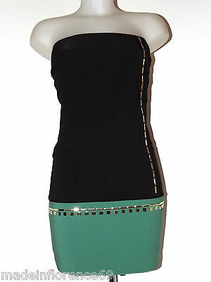 KORALLINE MINI ABITO BICOLORE BORCHIE DRESS TG S M L  VESTITO NERO VERDE P12-807