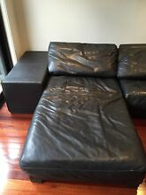 Natuzzi Black Leather Lounge Erskineville Inner Sydney Preview